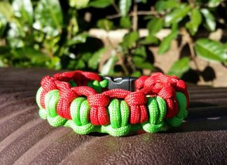 Multi-colored paracord survival bracelet
