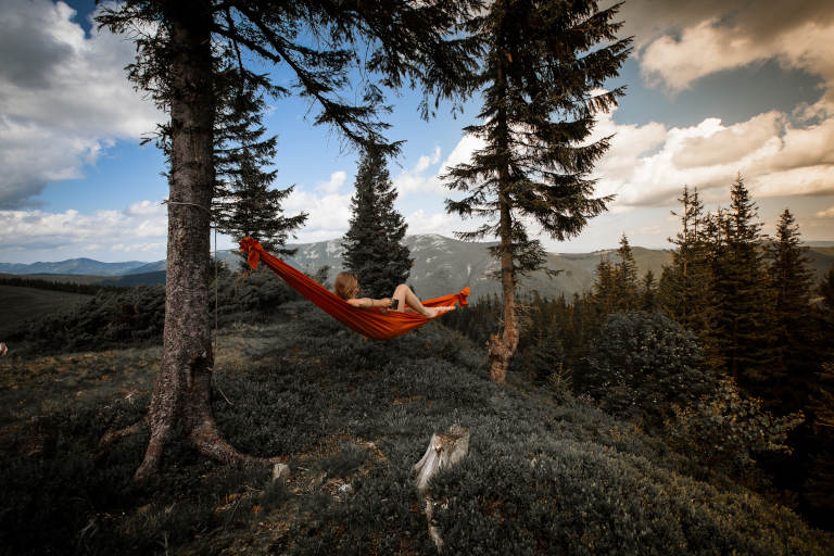 girl in red hammock