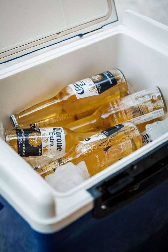 beer bottles in yeti coolers