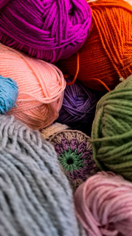 colorful balls of yarn made of wool